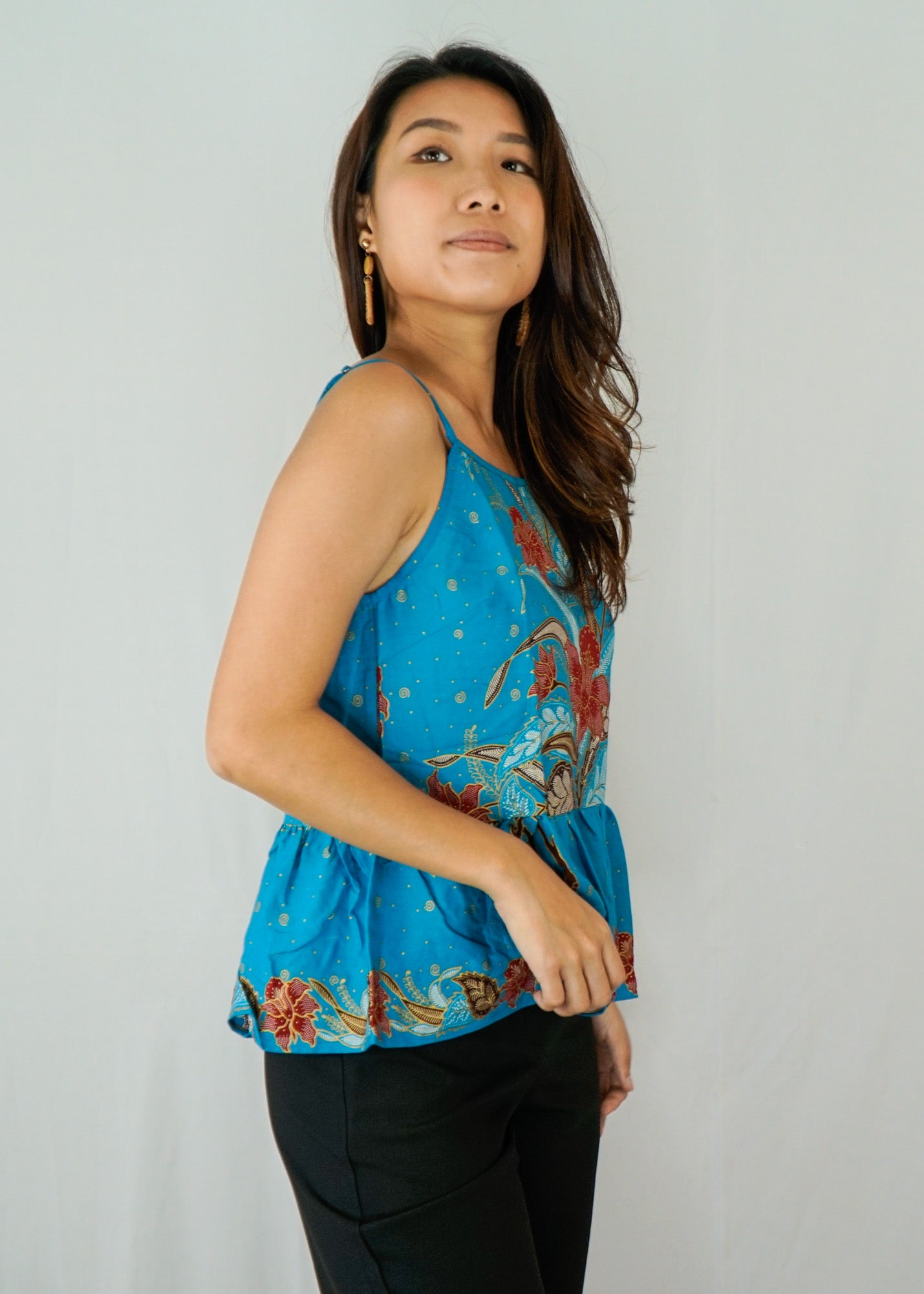 Anika Ruffle Spaghetti Top in Gemi Blue