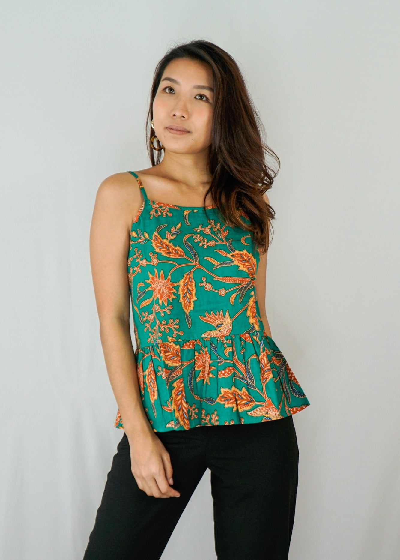 Anika Ruffle Spaghetti Top in Green Fingers