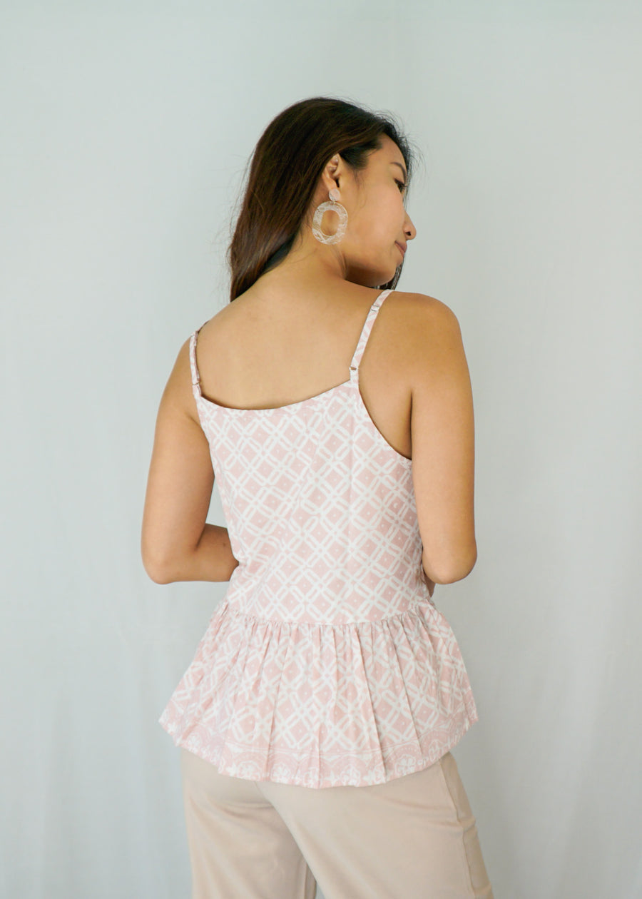 Anika Ruffle Spaghetti Top in Pink Diamond