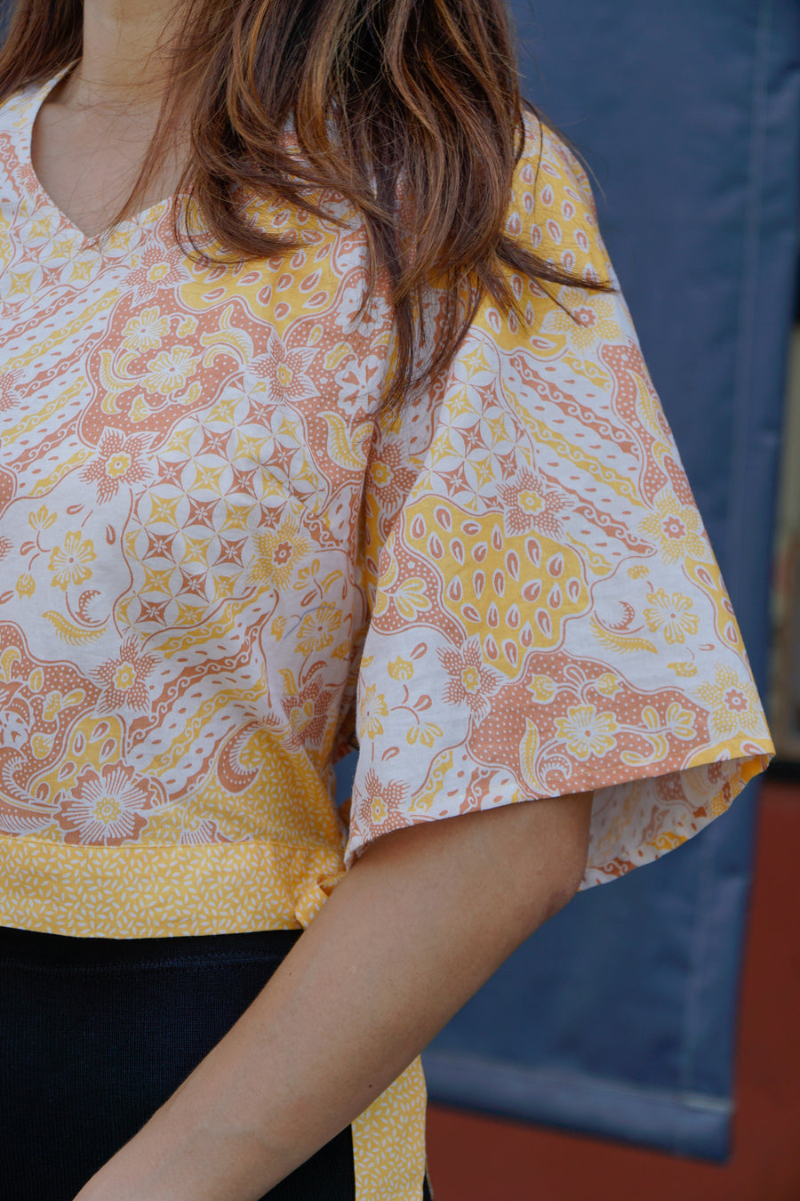 Tracy Flare Sleeves Top in Yellow Islands