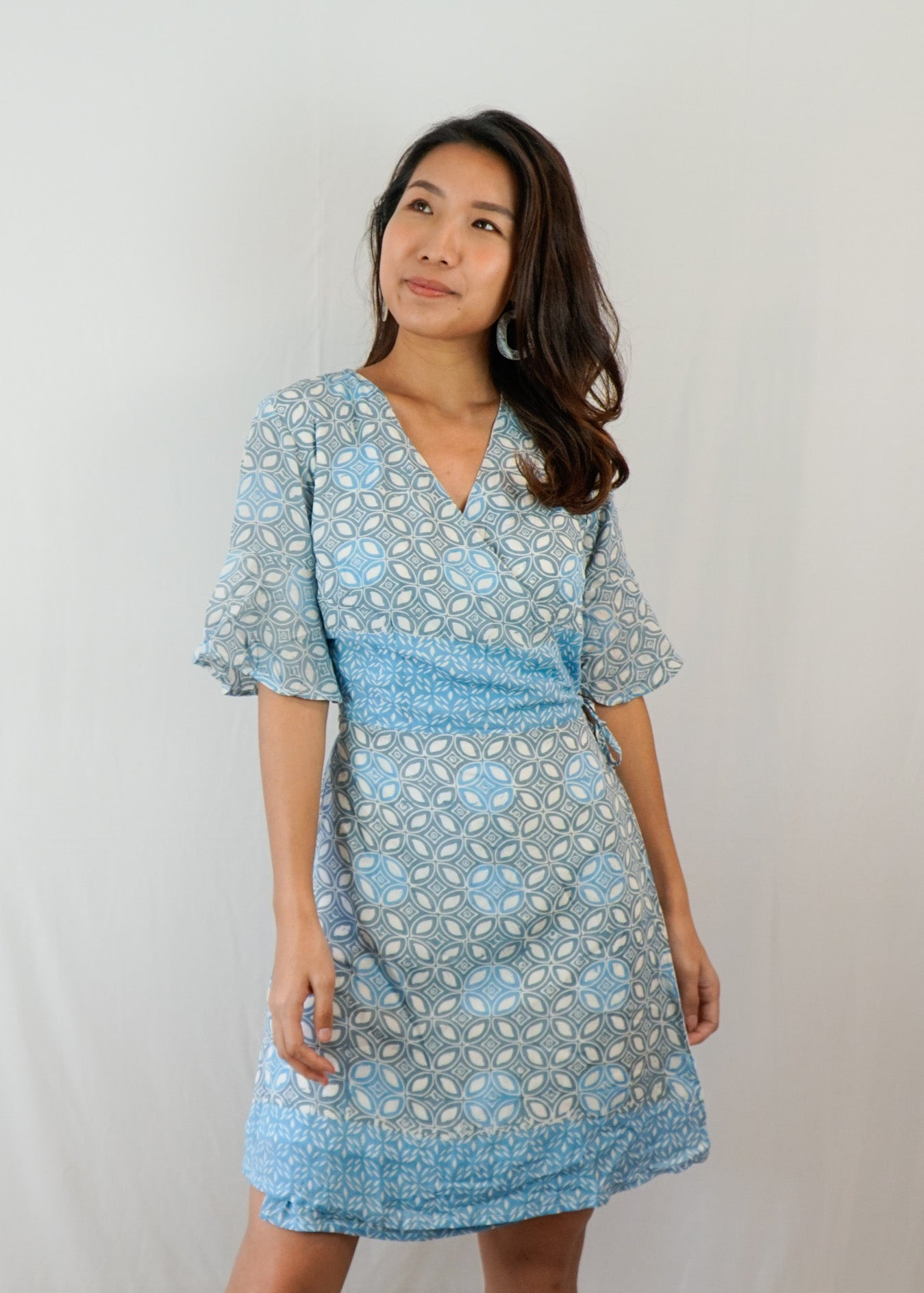Magnolia Batik Wrap Dress in Blue-Grey Kawung