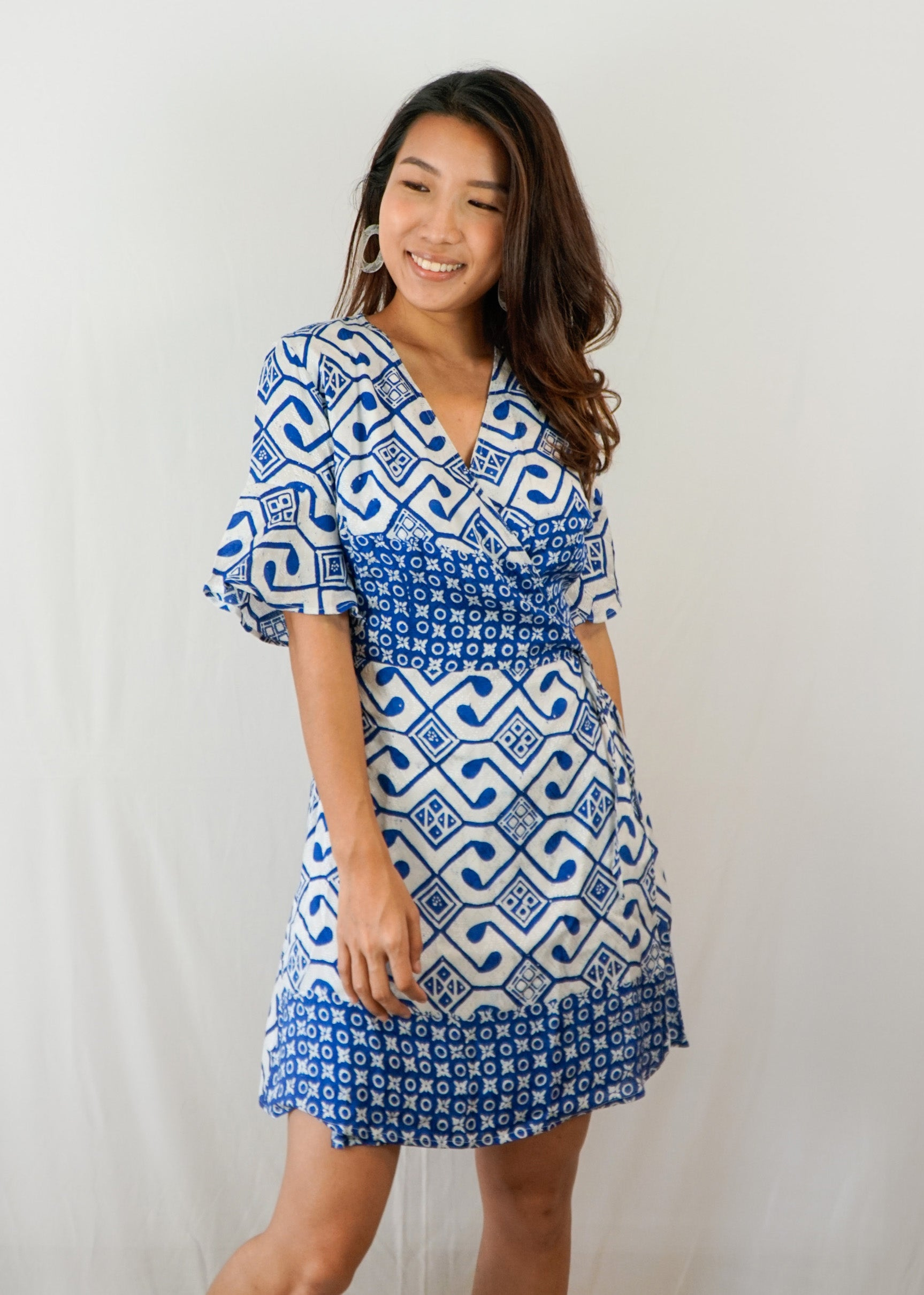 Magnolia Batik Wrap Dress in Yin Yang Blue