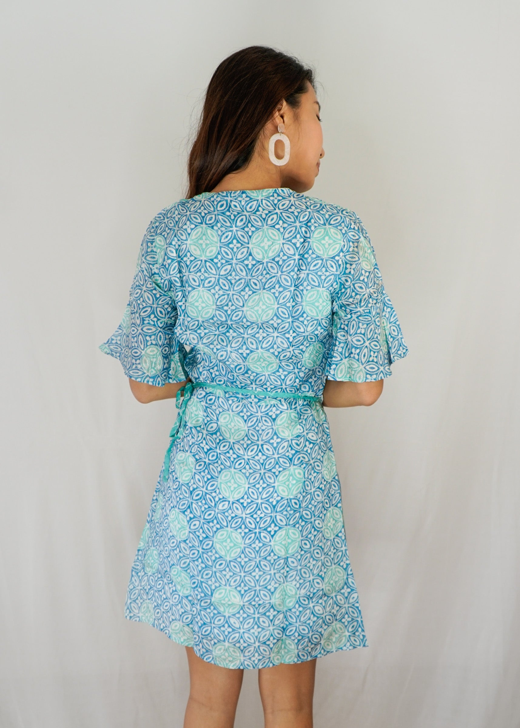 Magnolia Batik Wrap Dress in Turquoise Kawung