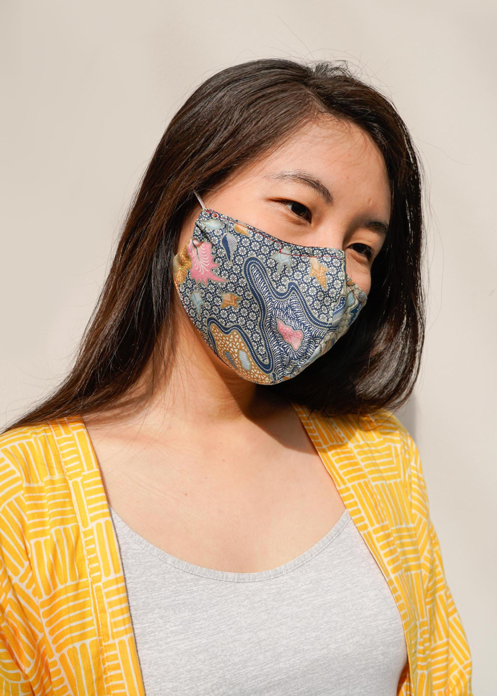 (PRE-ORDER) Fitted Reusable Batik Mask (filter pocket, nose wire)