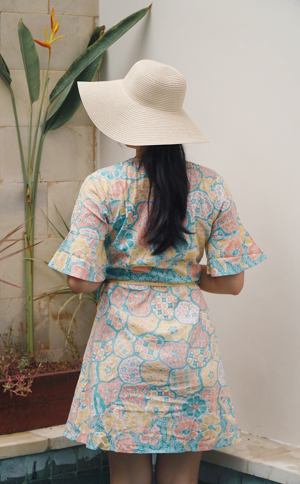 Magnolia Batik Wrap Dress in Pastel Islands