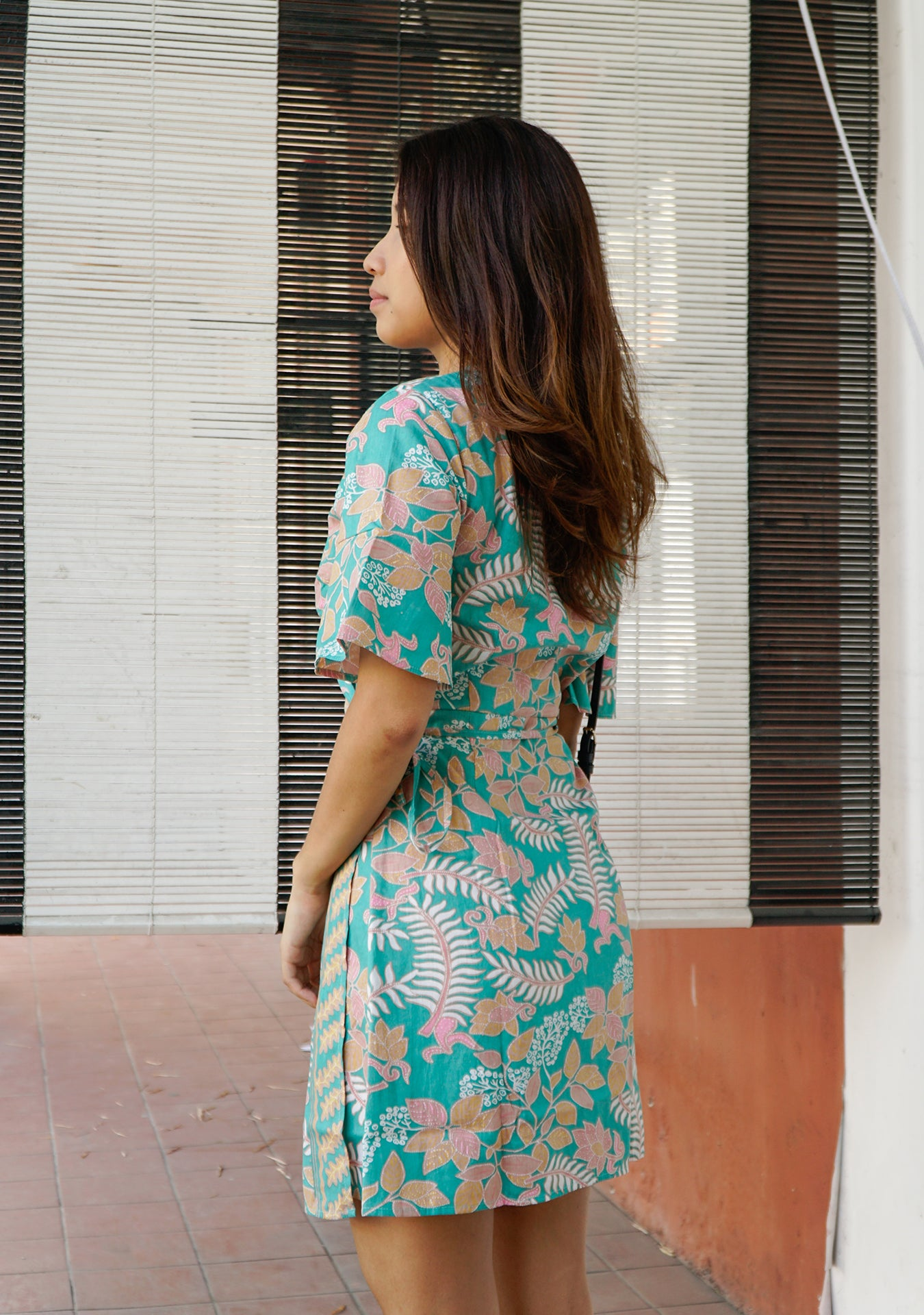 Magnolia Batik Wrap Dress in Botanic Green