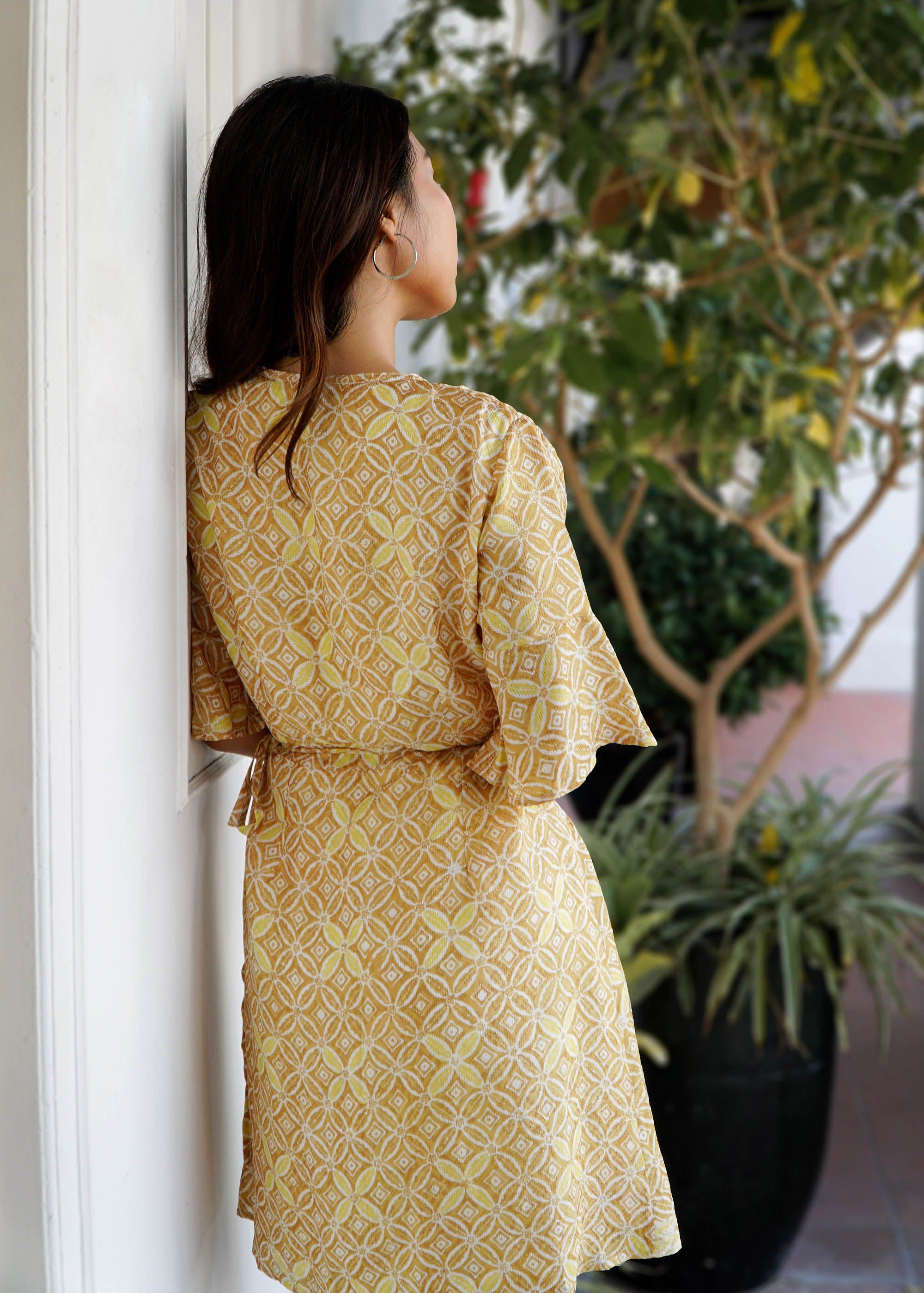 Magnolia Batik Wrap Dress in Golden Glamour