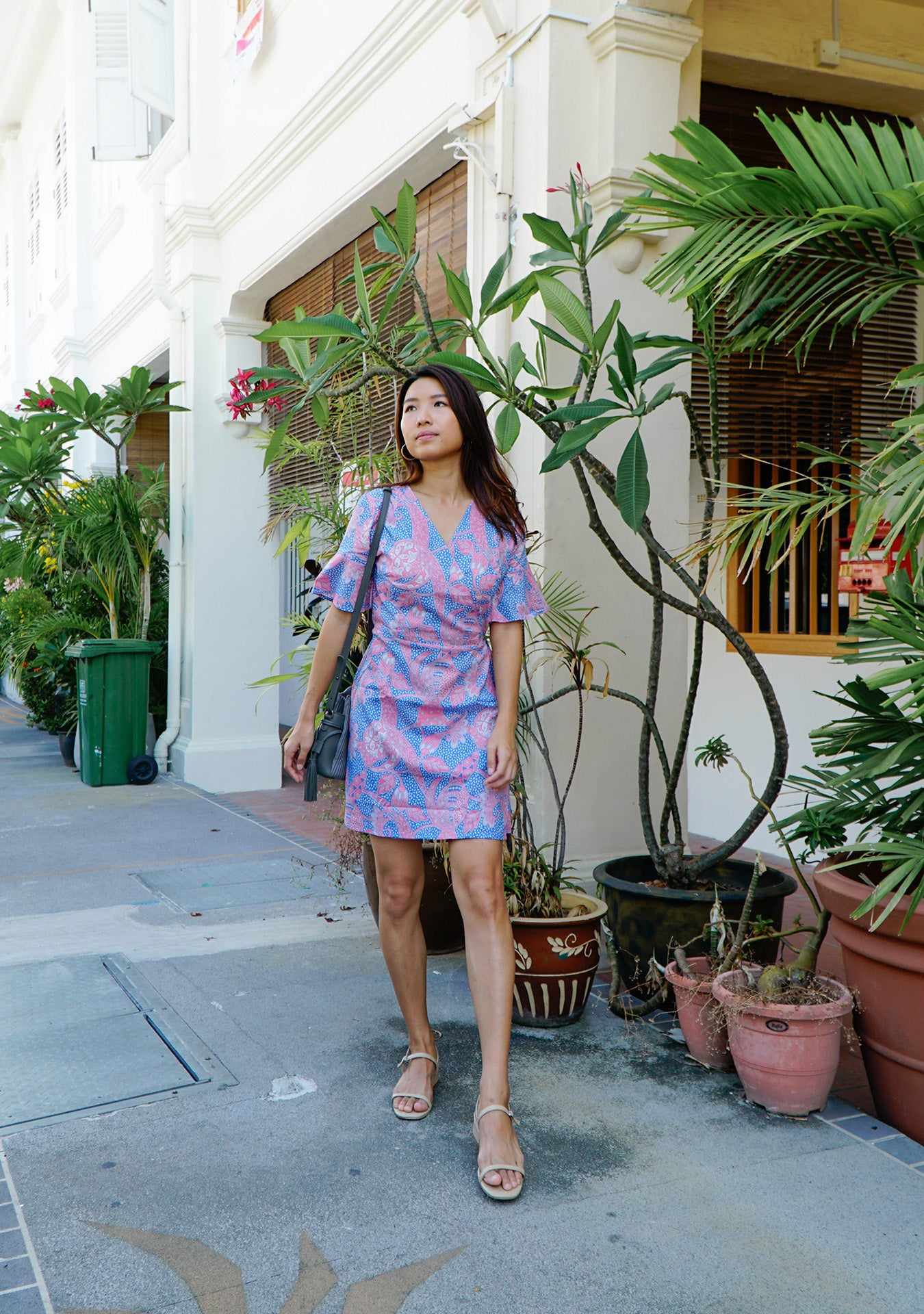 Magnolia Batik Wrap Dress in Pink Blue