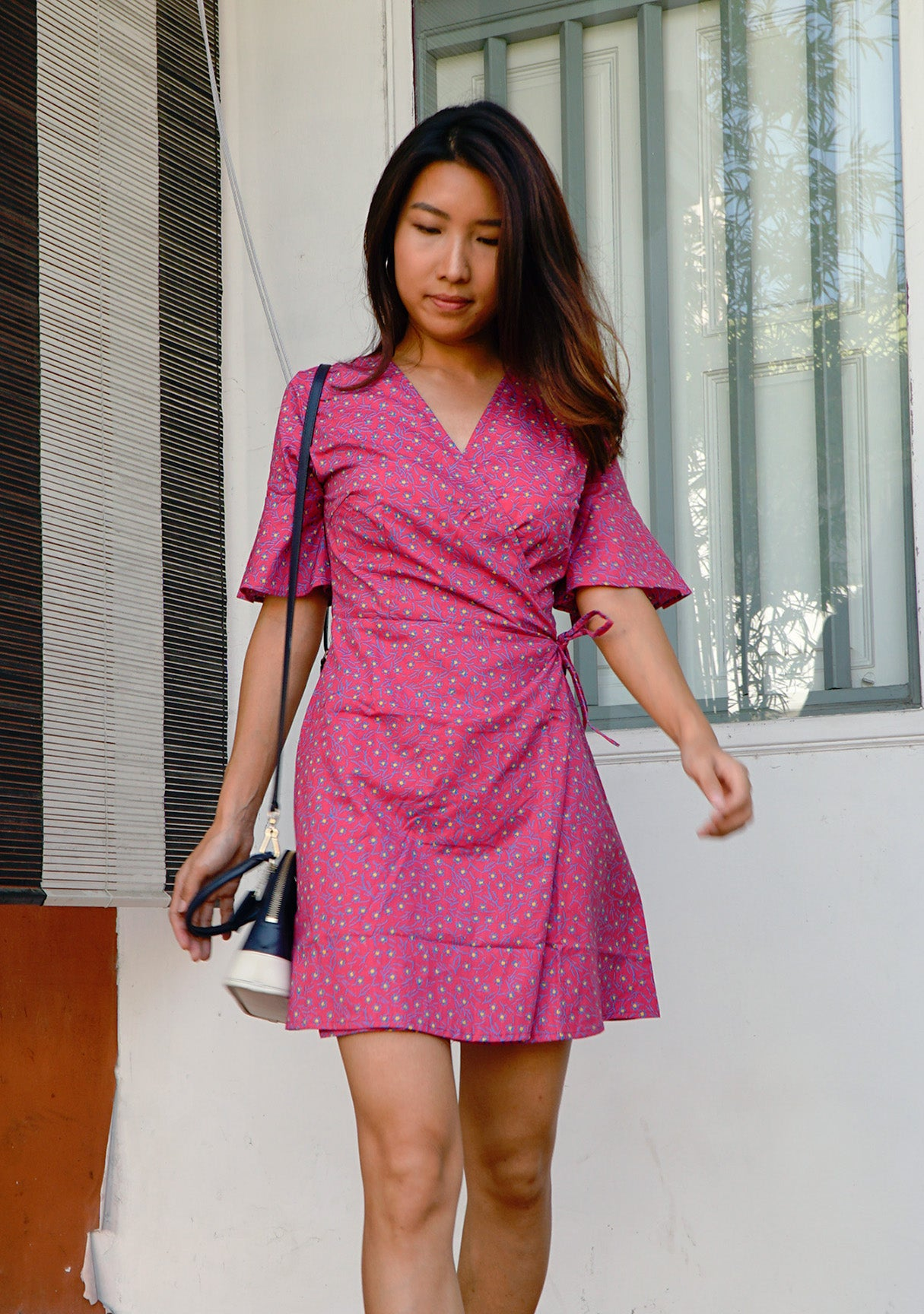 Magnolia Batik Wrap Dress in Pink Passion
