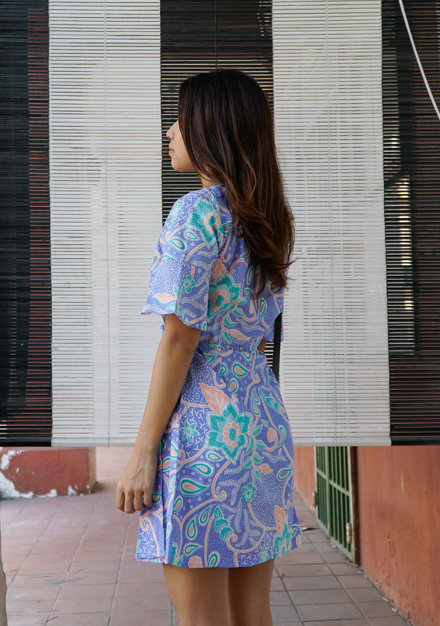 Magnolia Batik Wrap Dress in Purple Paddlepop