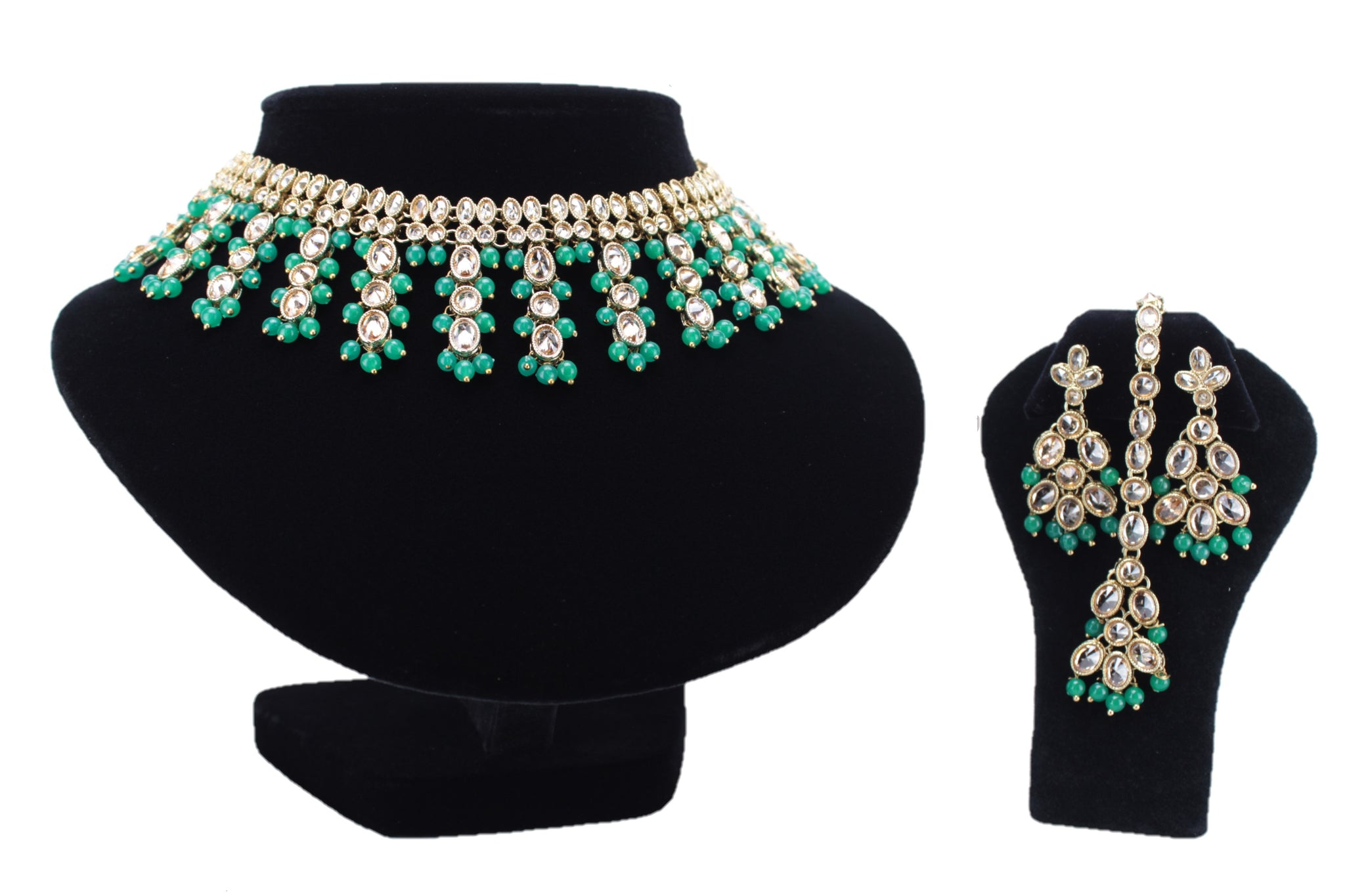 Gold & Green Kundan Set