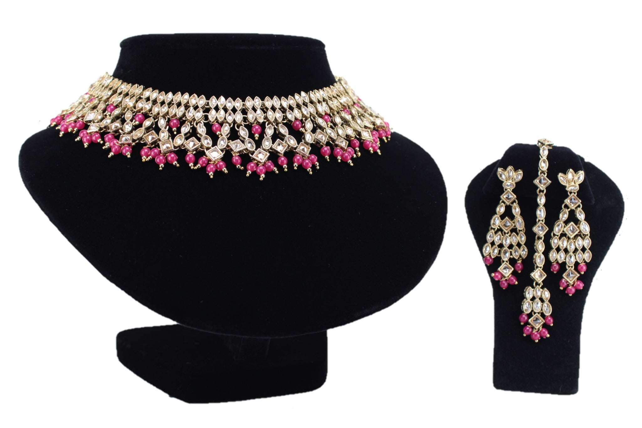 Magenta Pearl with Gold Kundan Necklace Set