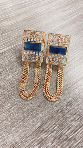 Zahra ~ Blue Cut Earring