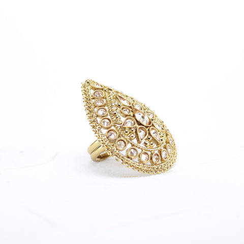 Gold Tear Drop Ring