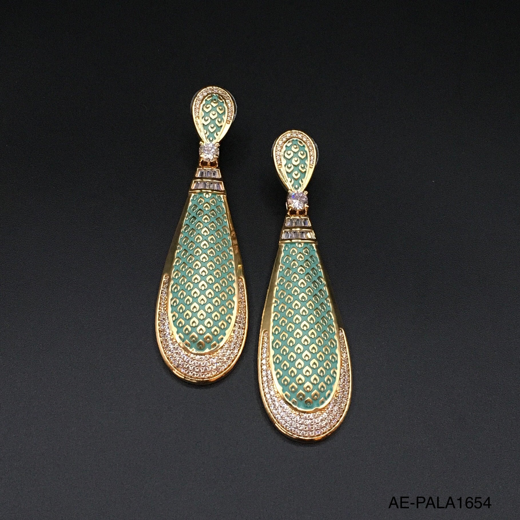 Mint Meenakari Drop Earrings with Cubic Zirconia
