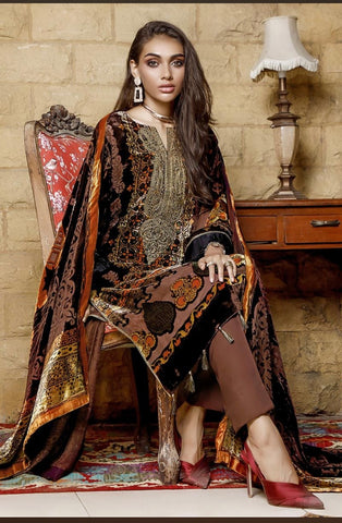 Gul Ahmed Velvet Stitched Suits -26