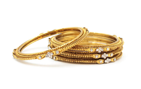 Gold Bangles (4)Set with White Stones