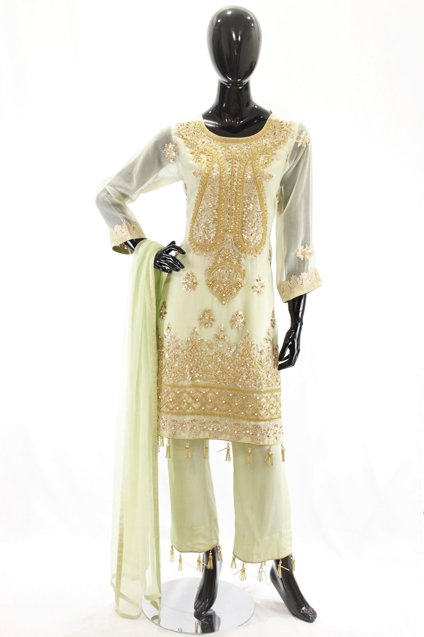 Mint Ladies Embroidered Suit with Flared Pants. WF0197