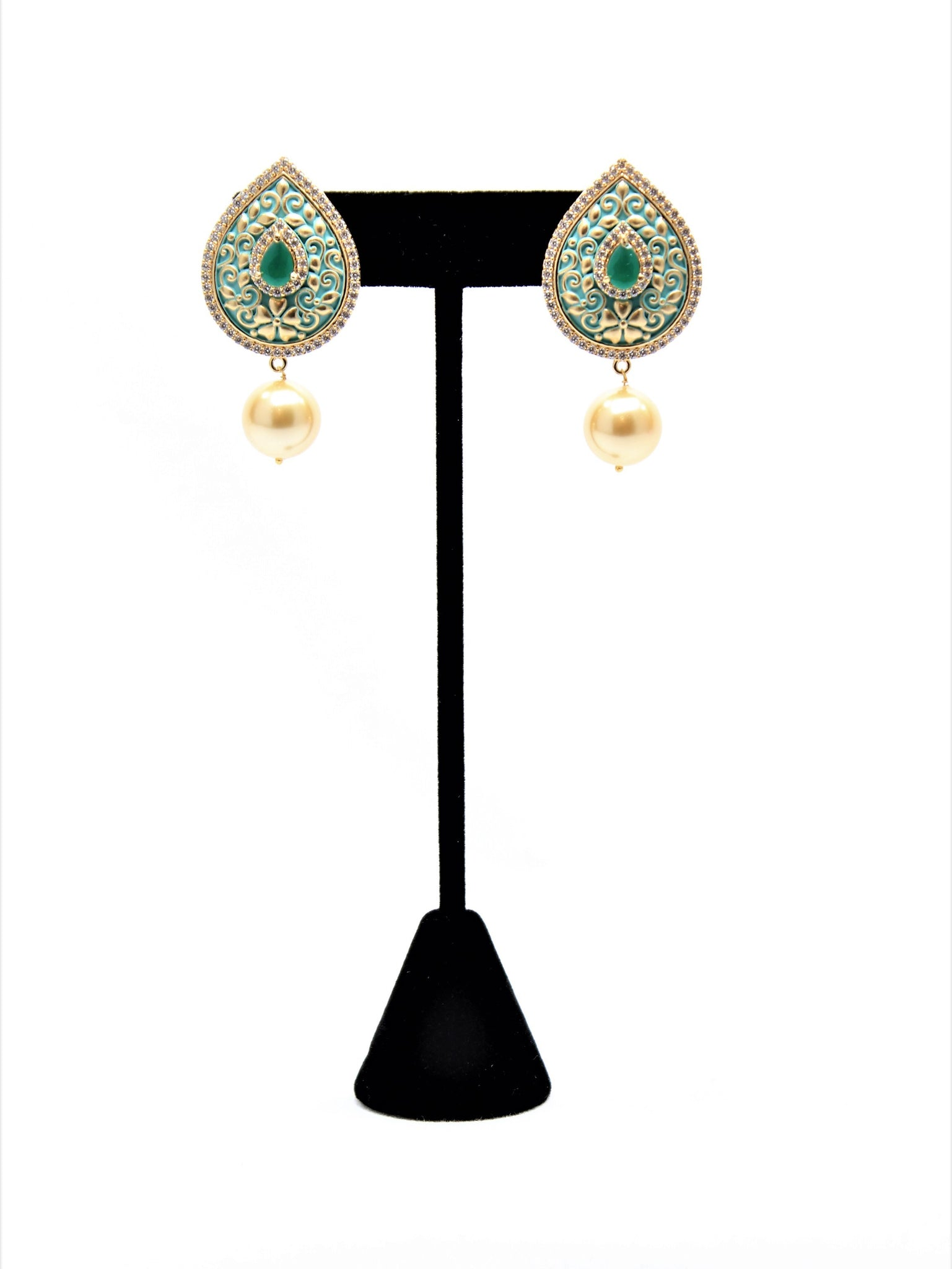 Mint Meena Kari Tear Drop with Pearl