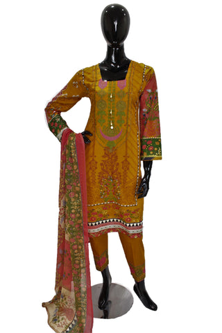 Mustard Yellow Printed Cotton Suit with Embroidery - 0527