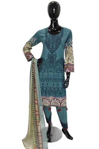 Teal Blue Printed Cotton Suit with Embroidery - 0533