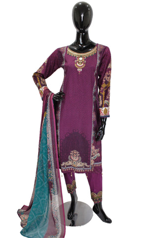 Eggplant Purple  Printed Cotton Suit with Embroidery  - 0529