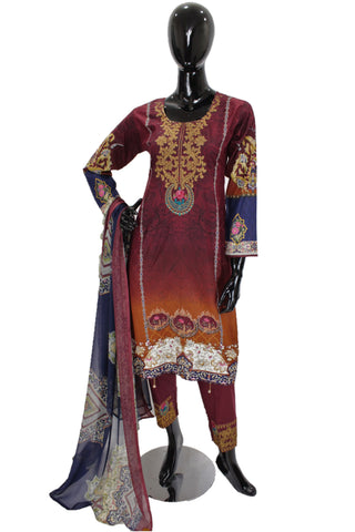Maroon Ombre Printed Cotton Suit with Embroidery - 0557