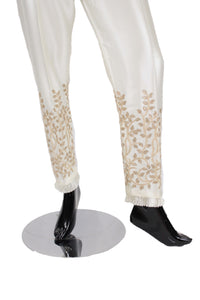 White Silk Pants with embroidery - SP001