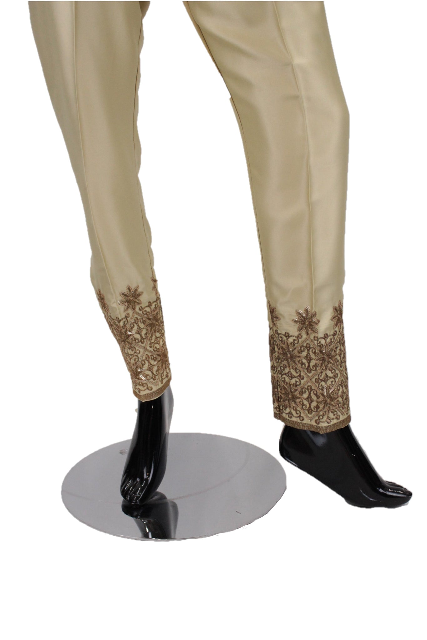 Gold  Silk Pants with embroidery - SP002