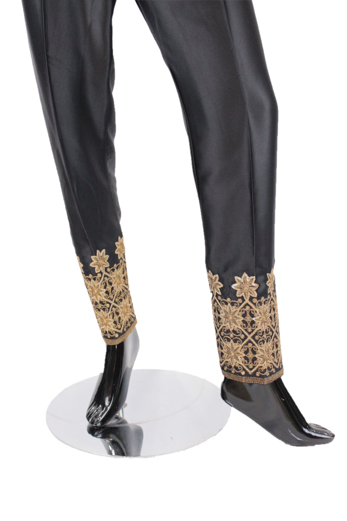 Black Silk Pants with embroidery - SP002