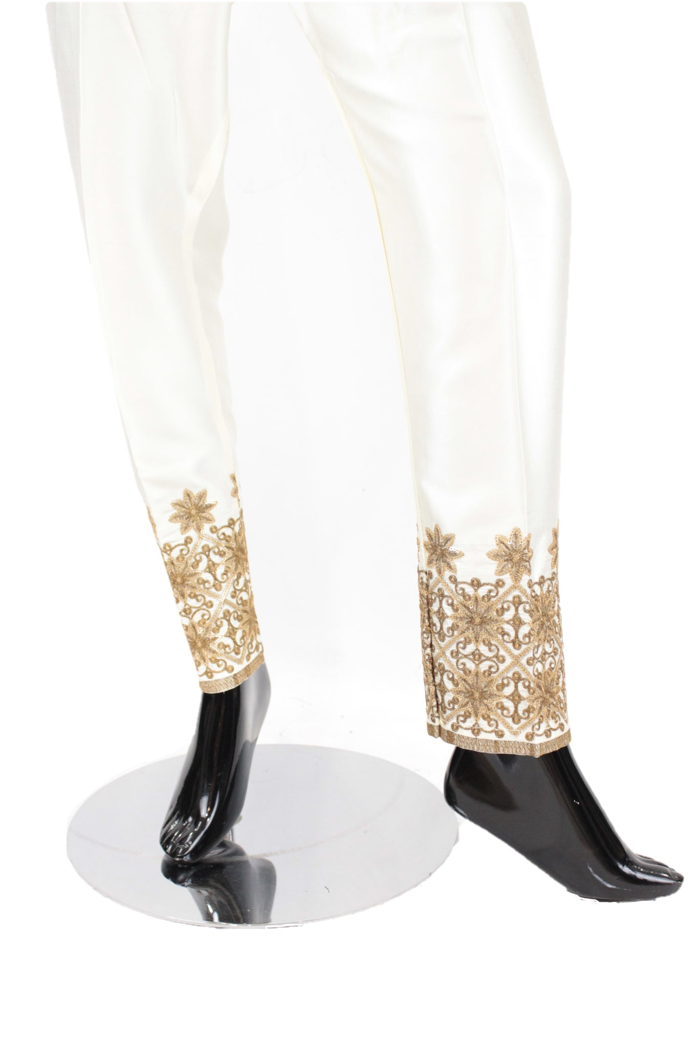 Ivory Silk pants with embroidery - SP002