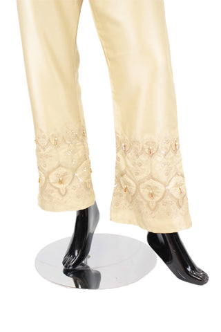 Beige Flared Silk pants with embroidery
