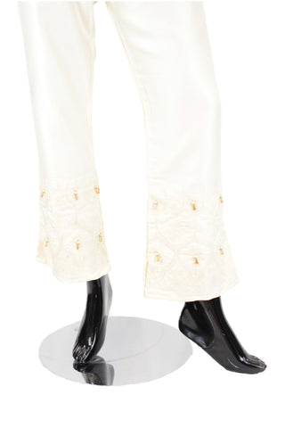 Ivory Flared Silk pants with embroidery