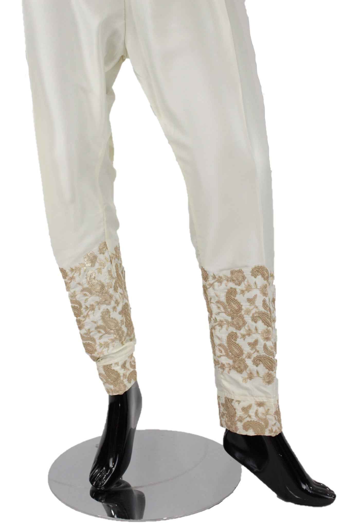 Cream Silk pants with embroidery - SP003