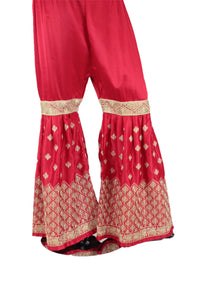 Red Silk Gharara Pants-GR39