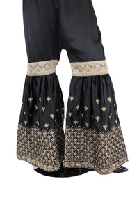 Black Silk Gharara Pants - GR03