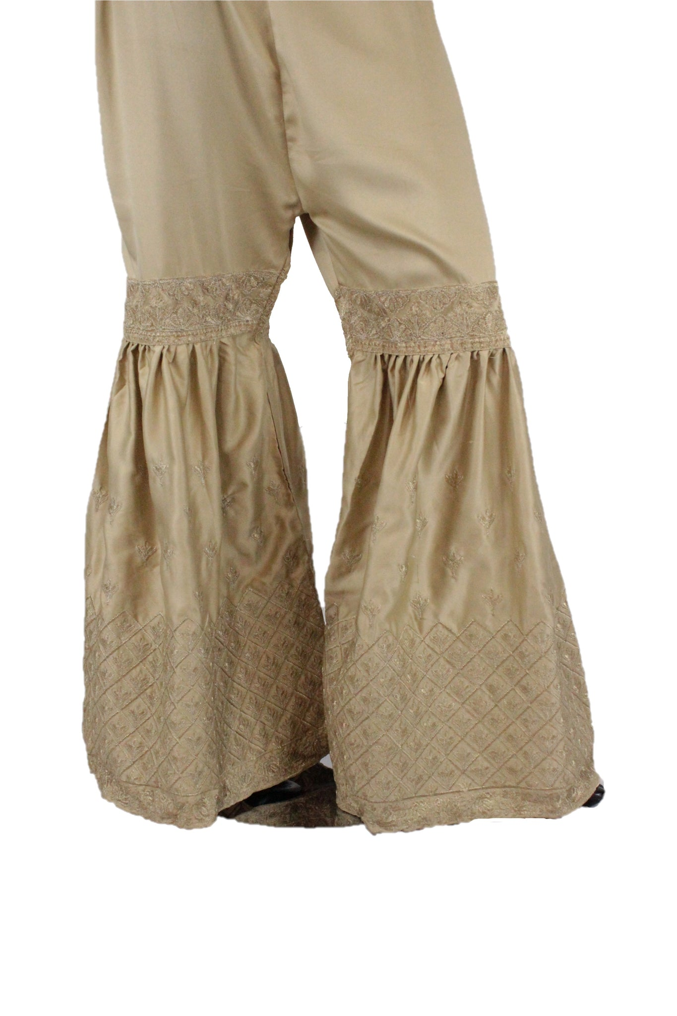 Gold Silk Gharara Pants- GR23