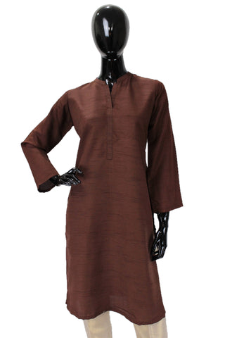 Raw Silk Kurti - Brown