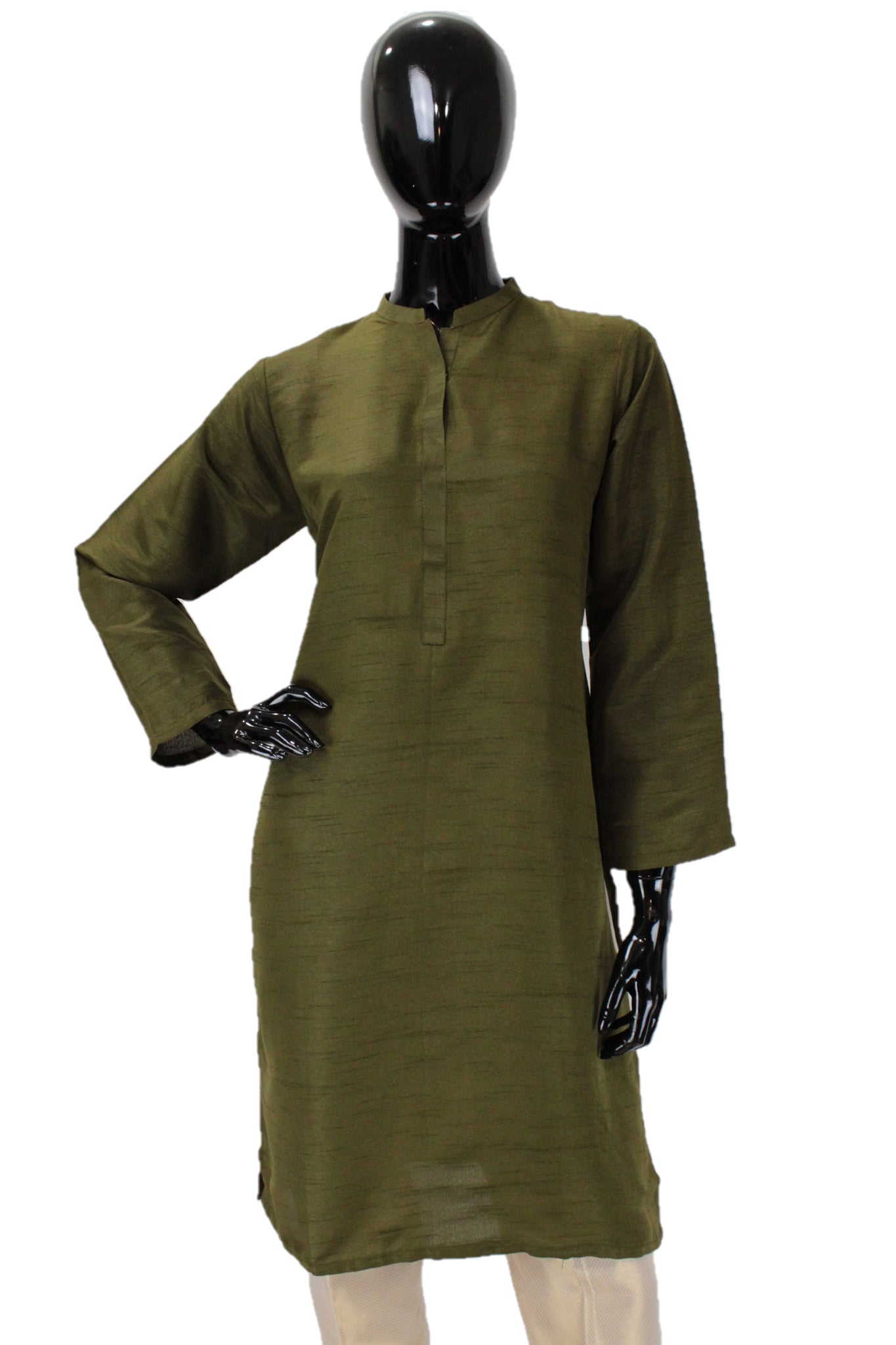 Raw Silk Kurti - Olive Green