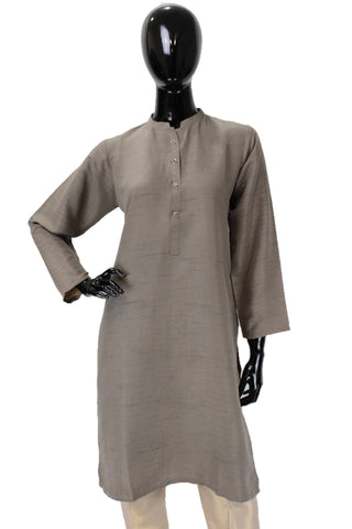 Raw Silk Kurti - Grey - Button option 1