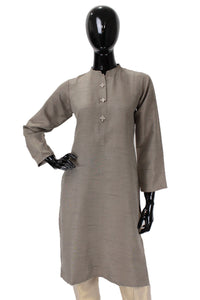 Raw Silk Kurti - Grey - Button option 2