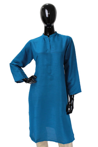 Raw Silk Kurti - Electric Blue