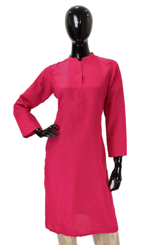 Raw Silk Kurti -  Hot pink