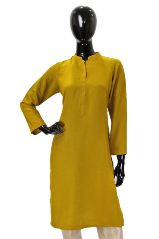 Raw Silk Kurti -  Mustard Yellow