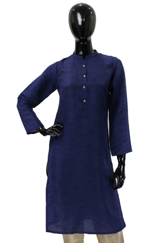 Raw Silk Kurti -  Navy Blue