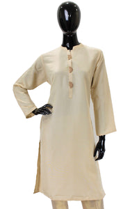 Raw Silk Kurti -  Cream