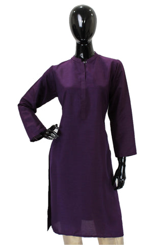 Raw Silk Kurti -  Dark Purple