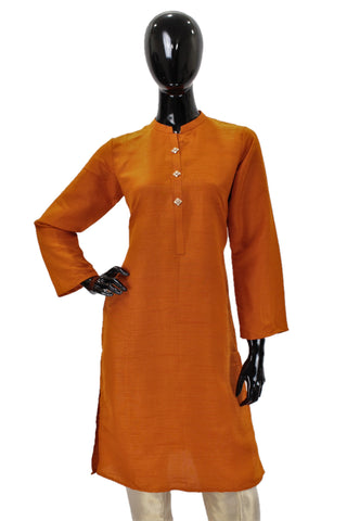 Raw Silk Kurti - Burnt Orange with buttons