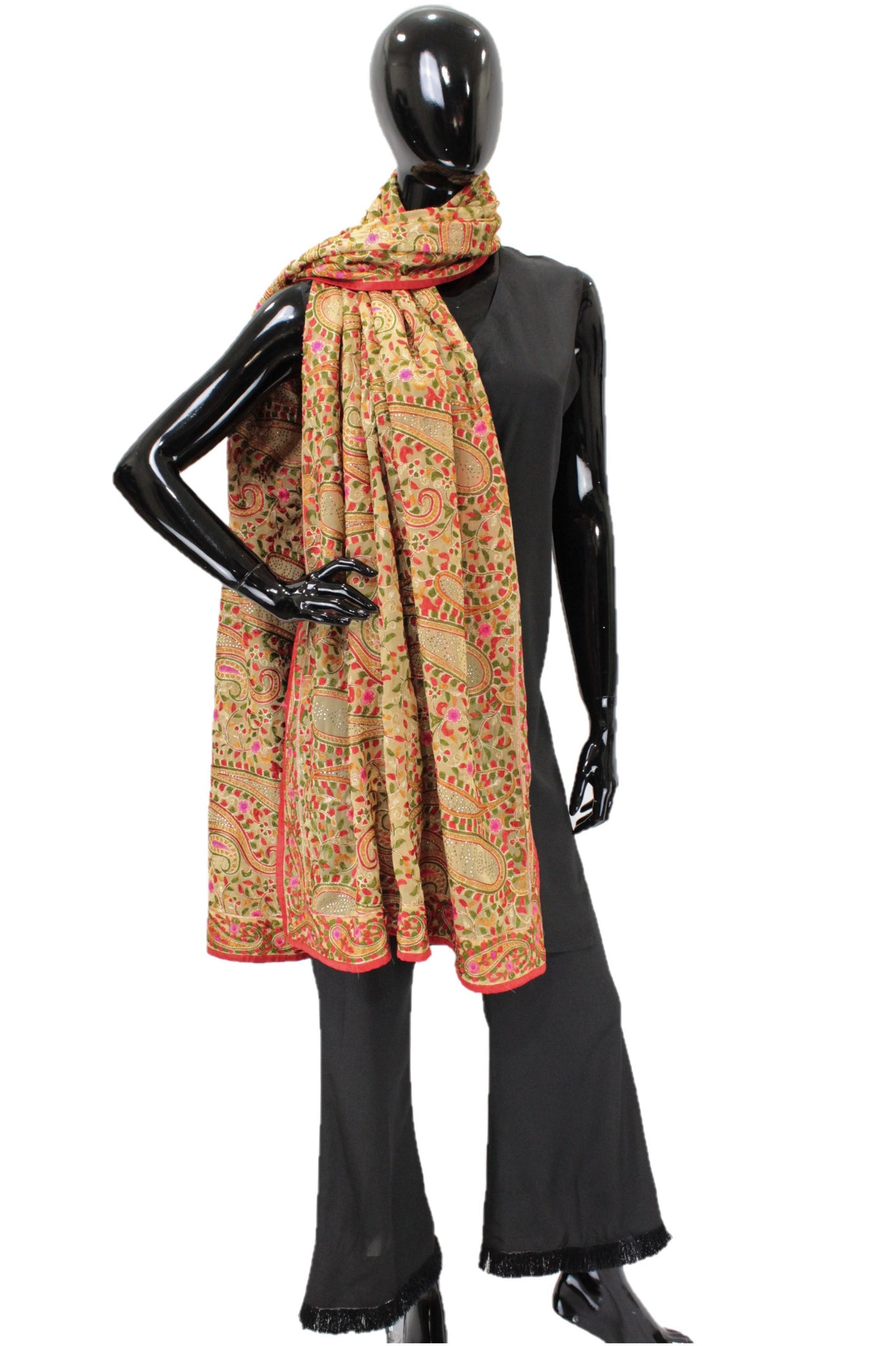 Fawn Full Thread Embroidery Dupatta - 5