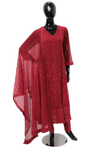 Red Chiffon Angarkar with thread embroidery -HS253